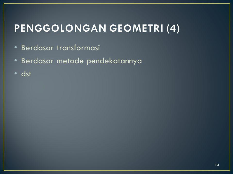 Berdasar sistem aksioma 1. Geometri euclides 2. Geometri non euclides 3. Geometri proyektif 4. dsb 13