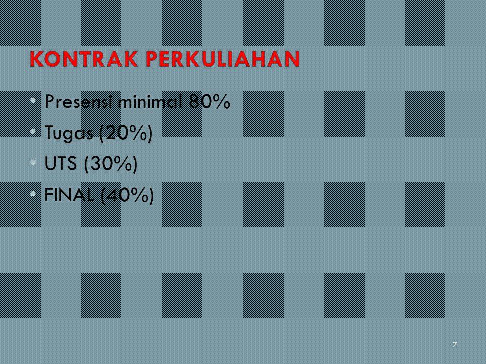 Presensi minimal 80% Tugas (20%) UTS (30%) FINAL (40%) 7