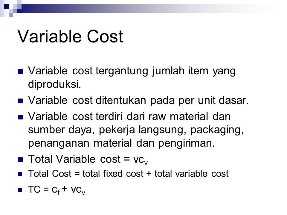 Variable Cost Variable cost tergantung jumlah item yang diproduksi. Variable cost ditentukan pada per unit dasar. Variable cost terdiri dari raw mater