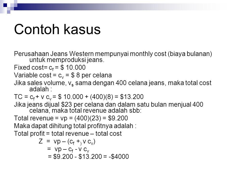 Contoh kasus Perusahaan Jeans Western mempunyai monthly cost (biaya bulanan) untuk memproduksi jeans. Fixed cost= c f = $ 10.000 Variable cost = c v =
