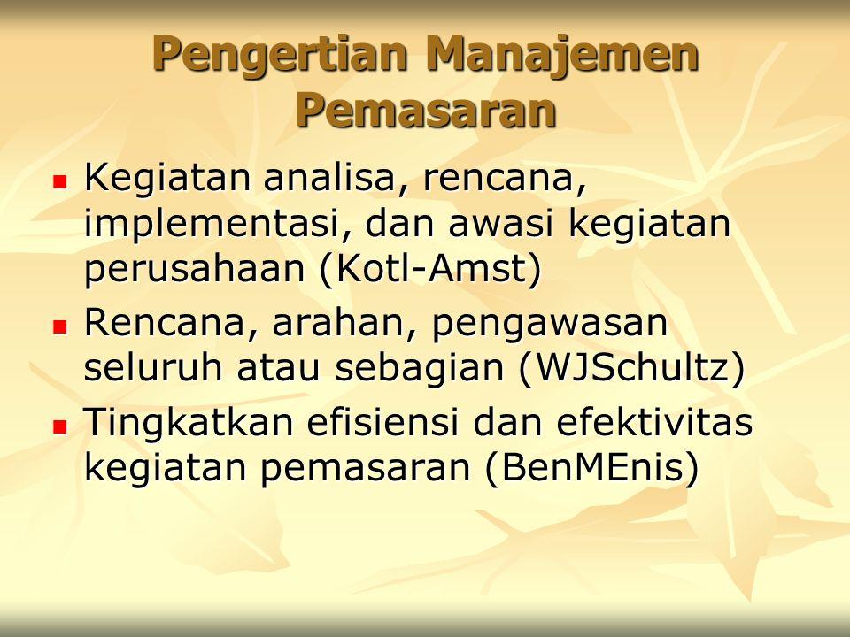 Pengertian Manajemen Pemasaran Kegiatan analisa, rencana, implementasi, dan awasi kegiatan perusahaan (Kotl-Amst) Kegiatan analisa, rencana, implement