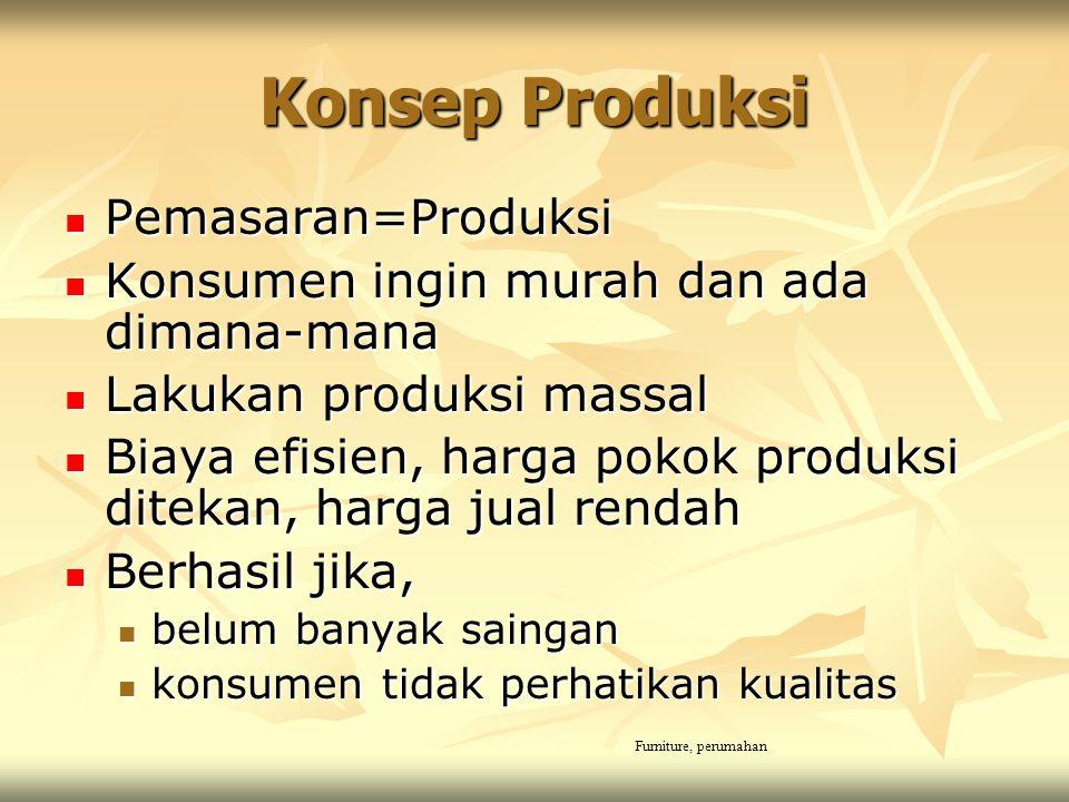 Konsep Produksi Pemasaran=Produksi Pemasaran=Produksi Konsumen ingin murah dan ada dimana-mana Konsumen ingin murah dan ada dimana-mana Lakukan produk
