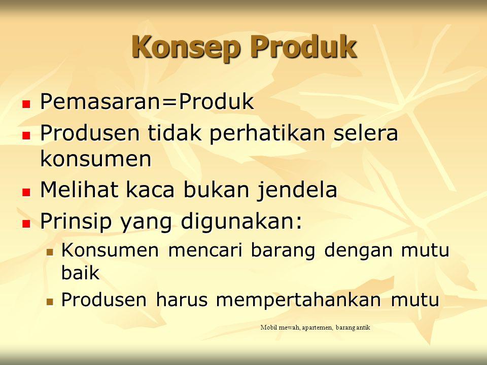 Konsep Produk Pemasaran=Produk Pemasaran=Produk Produsen tidak perhatikan selera konsumen Produsen tidak perhatikan selera konsumen Melihat kaca bukan