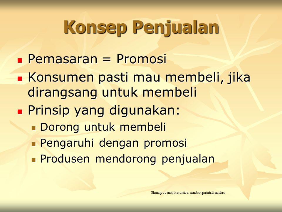 Konsep Penjualan Pemasaran = Promosi Pemasaran = Promosi Konsumen pasti mau membeli, jika dirangsang untuk membeli Konsumen pasti mau membeli, jika di