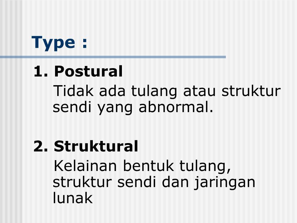 Type : 1.Postural Tidak ada tulang atau struktur sendi yang abnormal.