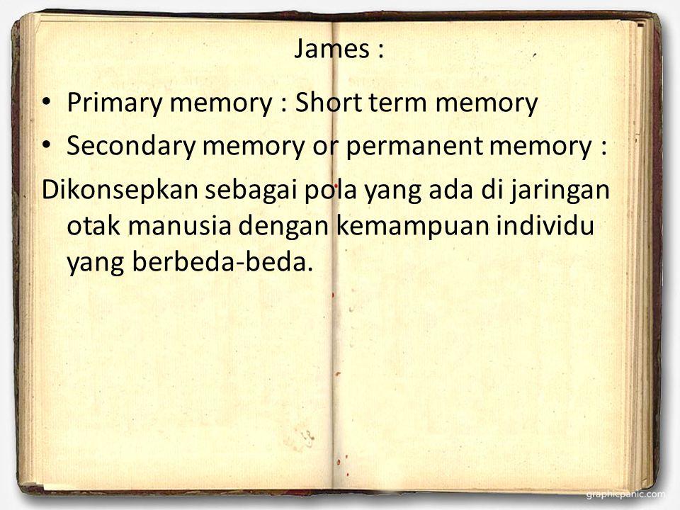 James : Primary memory : Short term memory Secondary memory or permanent memory : Dikonsepkan sebagai pola yang ada di jaringan otak manusia dengan kemampuan individu yang berbeda-beda.