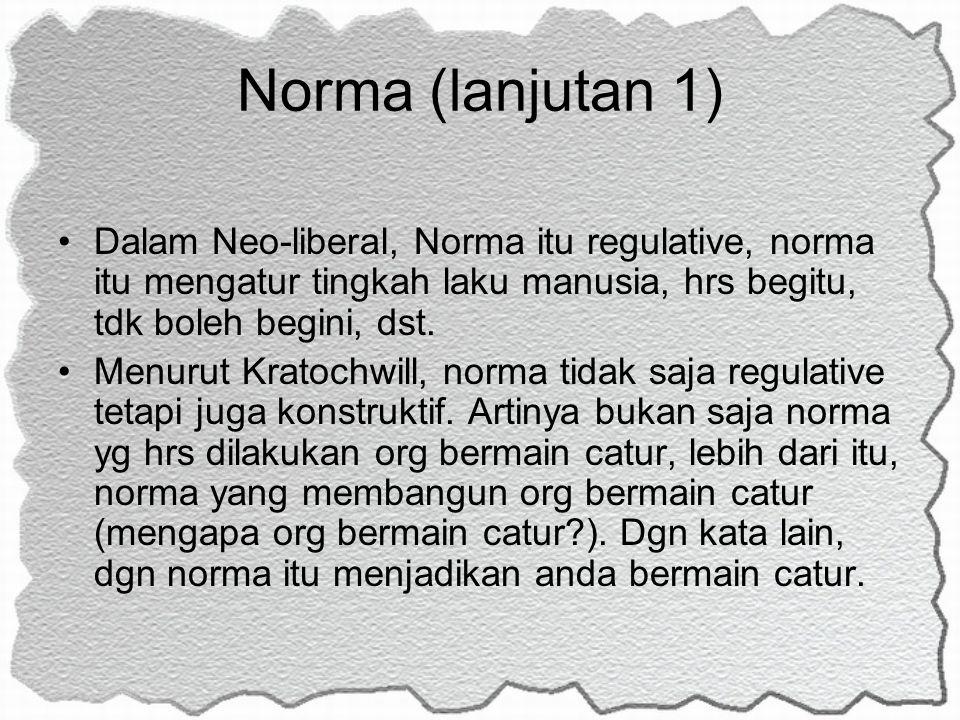 Norma (lanjutan 1) Dalam Neo-liberal, Norma itu regulative, norma itu mengatur tingkah laku manusia, hrs begitu, tdk boleh begini, dst. Menurut Kratoc