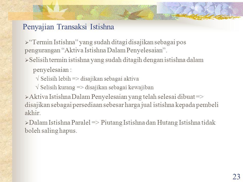 """23 Penyajian Transaksi Istishna  """"Termin Istishna"""" yang sudah ditagi disajikan sebagai pos pengurangan """"Aktiva Istishna Dalam Penyelesaian"""".  Selisi"""