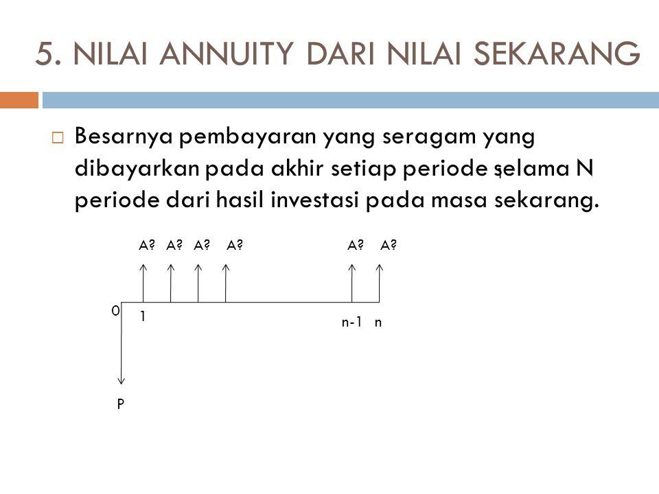 5. NILAI ANNUITY DARI NILAI SEKARANG  Besarnya pembayaran yang seragam yang dibayarkan pada akhir setiap periode selama N periode dari hasil investas