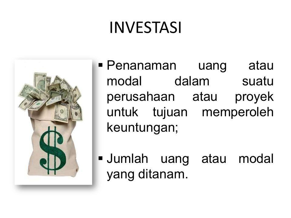 INVESTASI  Penanaman uang atau modal dalam suatu perusahaan atau proyek untuk tujuan memperoleh keuntungan;  Jumlah uang atau modal yang ditanam.