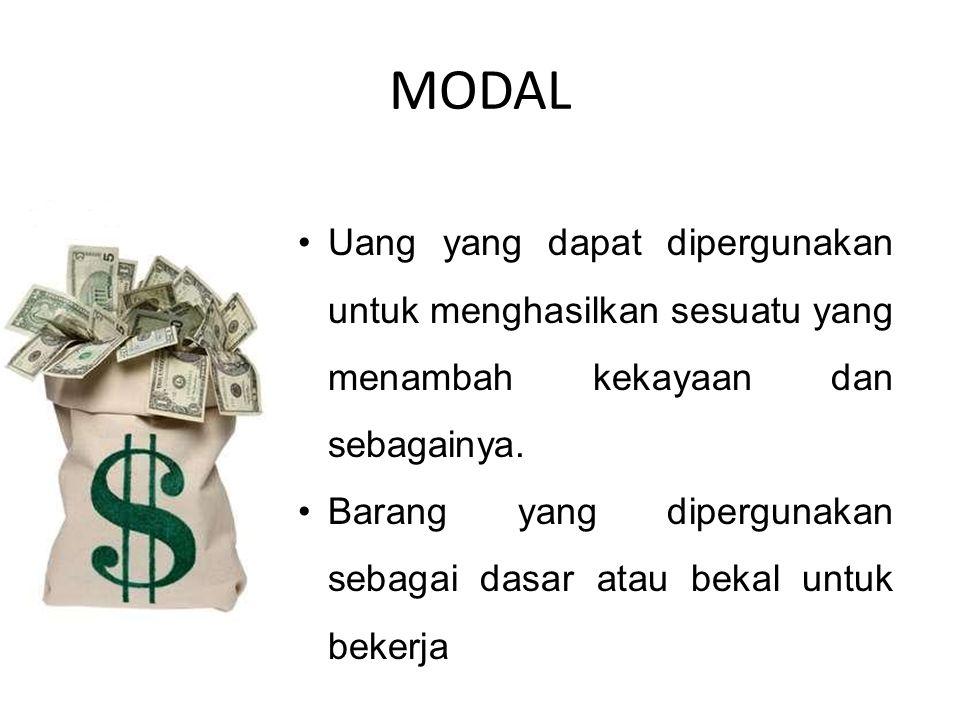 MODAL Uang yang dapat dipergunakan untuk menghasilkan sesuatu yang menambah kekayaan dan sebagainya. Barang yang dipergunakan sebagai dasar atau bekal