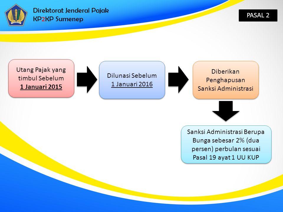 Direktorat Jenderal Pajak KP2KP Sumenep PASAL 3 Untuk dapat memperoleh Penghapusan Sanksi administrasi Wajib Pajak Mengajukan Permohonan kepada Direktur Jenderal Pajak Psl 3 ayat 3 1 Surat Permohonan untuk 1 Surat Tagihan Pajak, Kecuali dalam hal SKPKB/SKPKBT/SK Pembetulan/SK Keberatan/Putusan Banding/Putusan PK diterbitkan lebih dari 1 Surat Tagihan Pajak Diajukan secara tertulis dalam bahasa Indonesia Melampirkan bukti pelunasan Utang Pajak Disampaikan ke KPP terdaftar Ditandatangani oleh WP atau Kuasa dengan melampirkan Surat Kuasa Khusus sesuai Pasal 32 ayat (3) UU KUP Psl 3 ayat 2 Dengan Ketentuan: 1.Utang Pajak telah dilunasi 2.Terdapat sisa Sanksi Administrasi berupa Bunga yang belum dibayar Dengan Ketentuan: 1.Utang Pajak telah dilunasi 2.Terdapat sisa Sanksi Administrasi berupa Bunga yang belum dibayar
