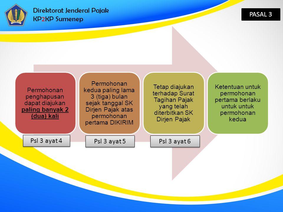 Direktorat Jenderal Pajak KP2KP Sumenep PASAL 3 Permohonan penghapusan dapat diajukan paling banyak 2 (dua) kali Permohonan kedua paling lama 3 (tiga)