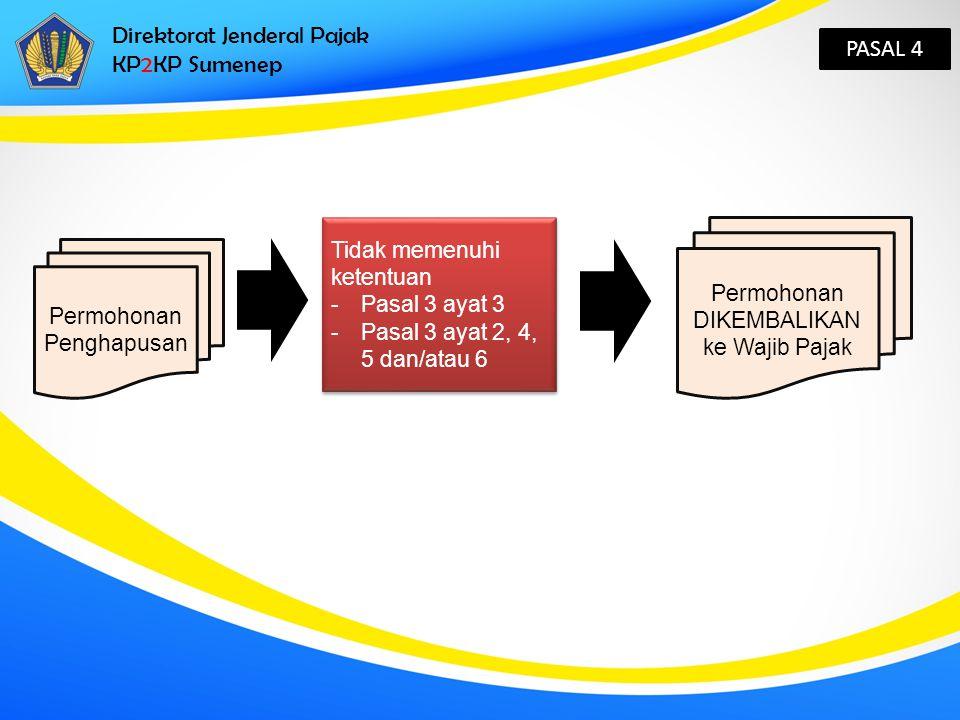 Direktorat Jenderal Pajak KP2KP Sumenep PASAL 4 Tidak Memenuhi Psl 3 ayat 2 dan 6, atau Psl 3 ayat 3 Untuk Permohonan Pertama, WP dianggap belum mengajukan permohonan, sehingga masih dapat mengajukan permohonan paling banyak 2x Untuk permohonan kedua, WP masih dapat mengajukan permohonan dalam rangka waktu 3 bulan (psl 3 ayat 5) Tidak memenuhi Pasal 3 ayat 4 Wajib Pajak tidak dapat mengajukan Permohonan Kembali