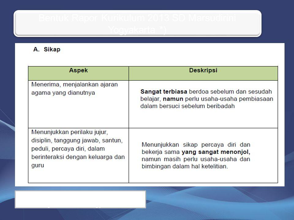 Bentuk Rapor Kurikulum 2013 SD Marsudirini Yogyakarta *) *) Masih Konfirmasi dengan Pengawas UPT Yogya Barat