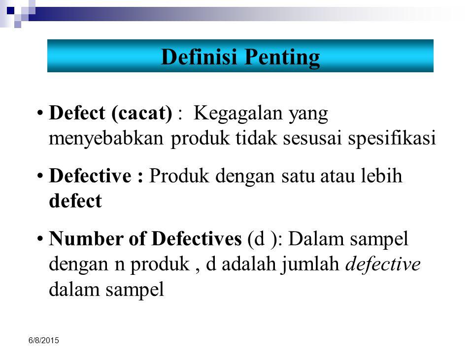 6/8/2015 Definisi Penting Defect (cacat) : Kegagalan yang menyebabkan produk tidak sesusai spesifikasi Defective : Produk dengan satu atau lebih defec