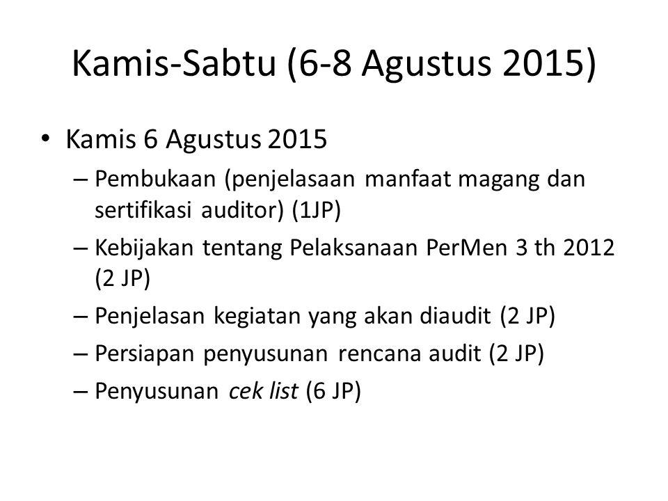 Kamis-Sabtu (6-8 Agustus 2015) Kamis 6 Agustus 2015 – Pembukaan (penjelasaan manfaat magang dan sertifikasi auditor) (1JP) – Kebijakan tentang Pelaksa