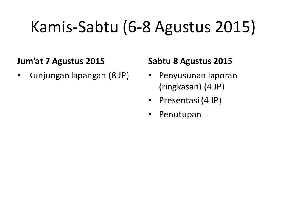 Jum'at 7 Agustus 2015 Kunjungan lapangan (8 JP) Sabtu 8 Agustus 2015 Penyusunan laporan (ringkasan) (4 JP) Presentasi (4 JP) Penutupan Kamis-Sabtu (6-