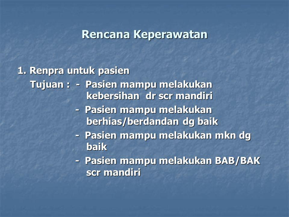 Rencana Keperawatan 1. Renpra untuk pasien Tujuan : - Pasien mampu melakukan kebersihan dr scr mandiri - Pasien mampu melakukan berhias/berdandan dg b