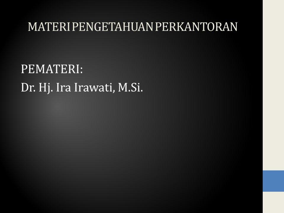 MATERI PENGETAHUAN PERKANTORAN PEMATERI: Dr. Hj. Ira Irawati, M.Si.