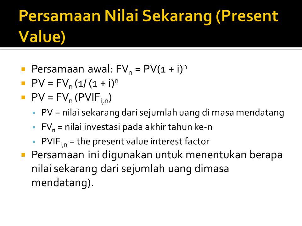  Persamaan awal: FV n = PV(1 + i) n  PV = FV n (1/ (1 + i) n  PV = FV n (PVIF i,n )  PV = nilai sekarang dari sejumlah uang di masa mendatang  FV n = nilai investasi pada akhir tahun ke-n  PVIF i,n = the present value interest factor  Persamaan ini digunakan untuk menentukan berapa nilai sekarang dari sejumlah uang dimasa mendatang).