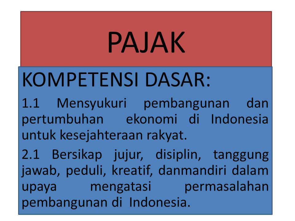 PAJAK KOMPETENSI DASAR: 1.1 Mensyukuri pembangunan dan pertumbuhan ekonomi di Indonesia untuk kesejahteraan rakyat.