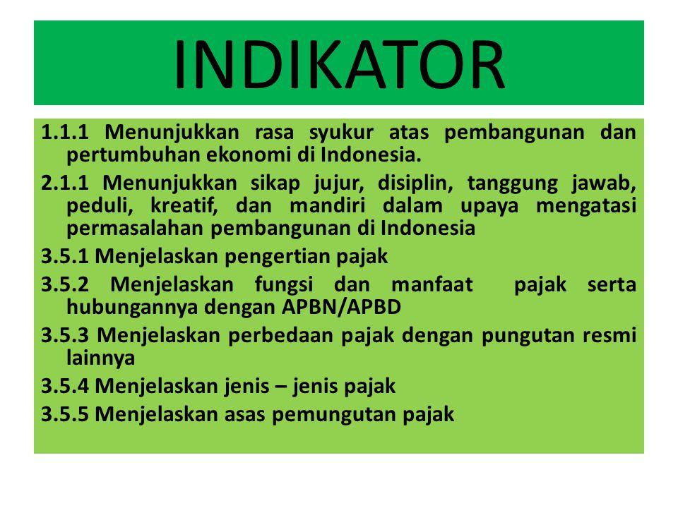INDIKATOR 1.1.1 Menunjukkan rasa syukur atas pembangunan dan pertumbuhan ekonomi di Indonesia.
