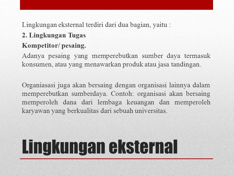 Lingkungan eksternal Lingkungan eksternal terdiri dari dua bagian, yaitu : 2. Lingkungan Tugas Kompetitor/ pesaing. Adanya pesaing yang memperebutkan