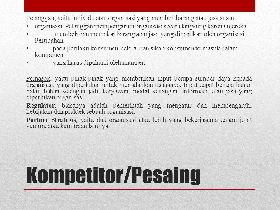 Kompetitor/Pesaing Pelanggan, yaitu individu atau organisasi yang membeli barang atau jasa suatu organisasi. Pelanggan mempengaruhi organisasi secara