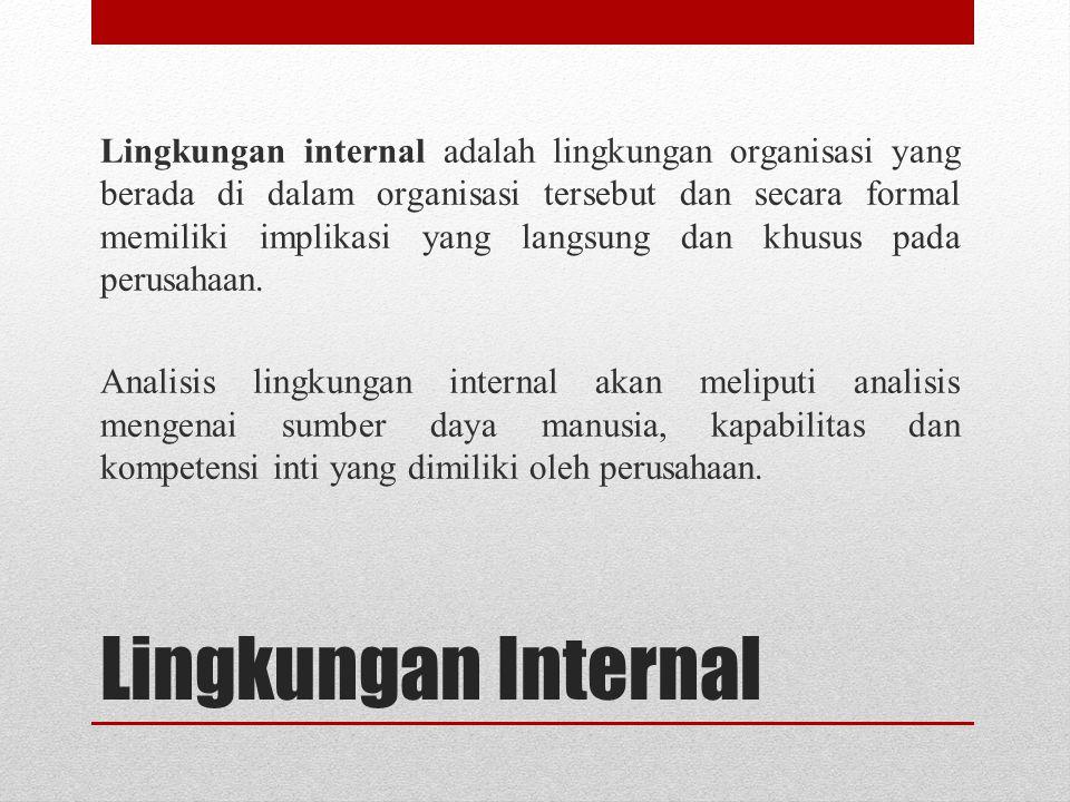 Lingkungan Internal Lingkungan internal adalah lingkungan organisasi yang berada di dalam organisasi tersebut dan secara formal memiliki implikasi yan