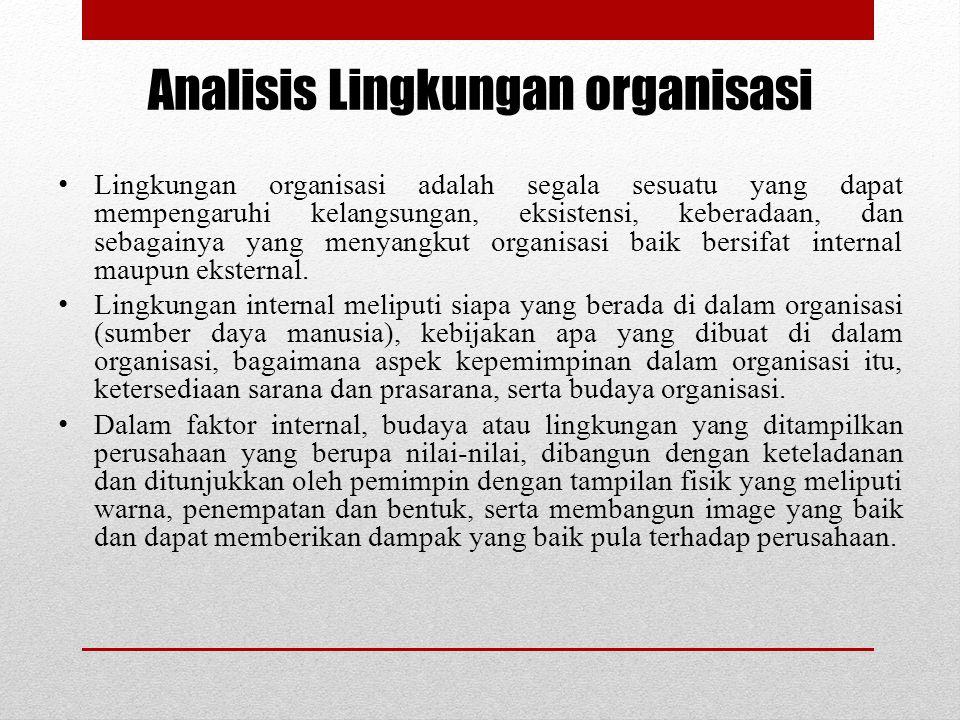 Analisis Lingkungan organisasi Lingkungan organisasi adalah segala sesuatu yang dapat mempengaruhi kelangsungan, eksistensi, keberadaan, dan sebagainy