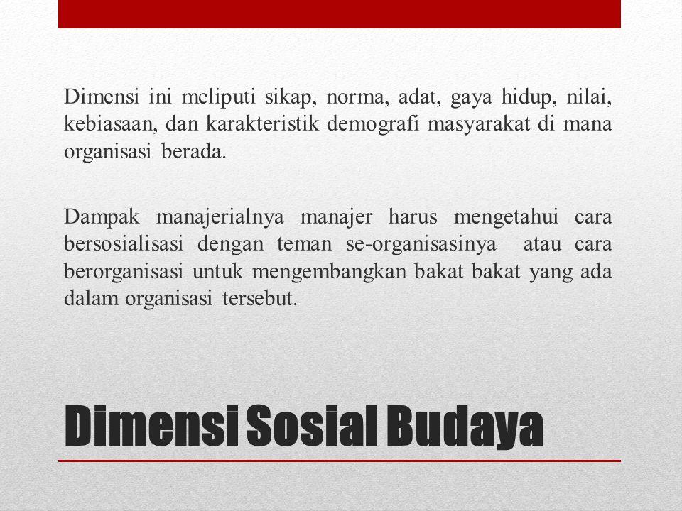 Dimensi Sosial Budaya Dimensi ini meliputi sikap, norma, adat, gaya hidup, nilai, kebiasaan, dan karakteristik demografi masyarakat di mana organisasi