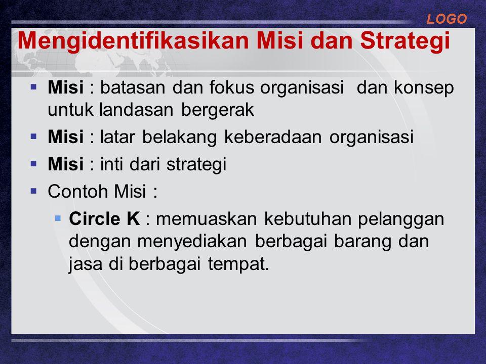 LOGO Mengidentifikasikan Misi dan Strategi  Misi : batasan dan fokus organisasi dan konsep untuk landasan bergerak  Misi : latar belakang keberadaan organisasi  Misi : inti dari strategi  Contoh Misi :  Circle K : memuaskan kebutuhan pelanggan dengan menyediakan berbagai barang dan jasa di berbagai tempat.