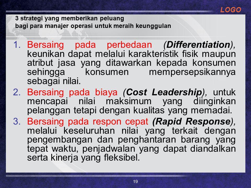 LOGO 3 strategi yang memberikan peluang bagi para manajer operasi untuk meraih keunggulan 1.Bersaing pada perbedaan (Differentiation), keunikan dapat