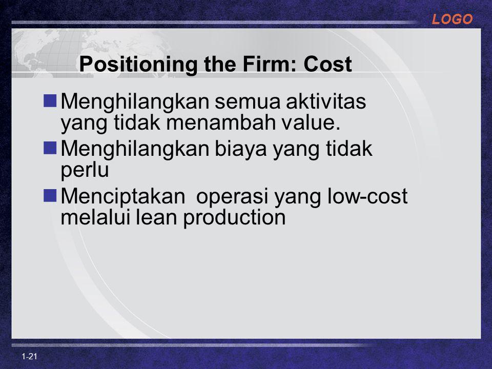 LOGO 1-21 Positioning the Firm: Cost Menghilangkan semua aktivitas yang tidak menambah value. Menghilangkan biaya yang tidak perlu Menciptakan operasi
