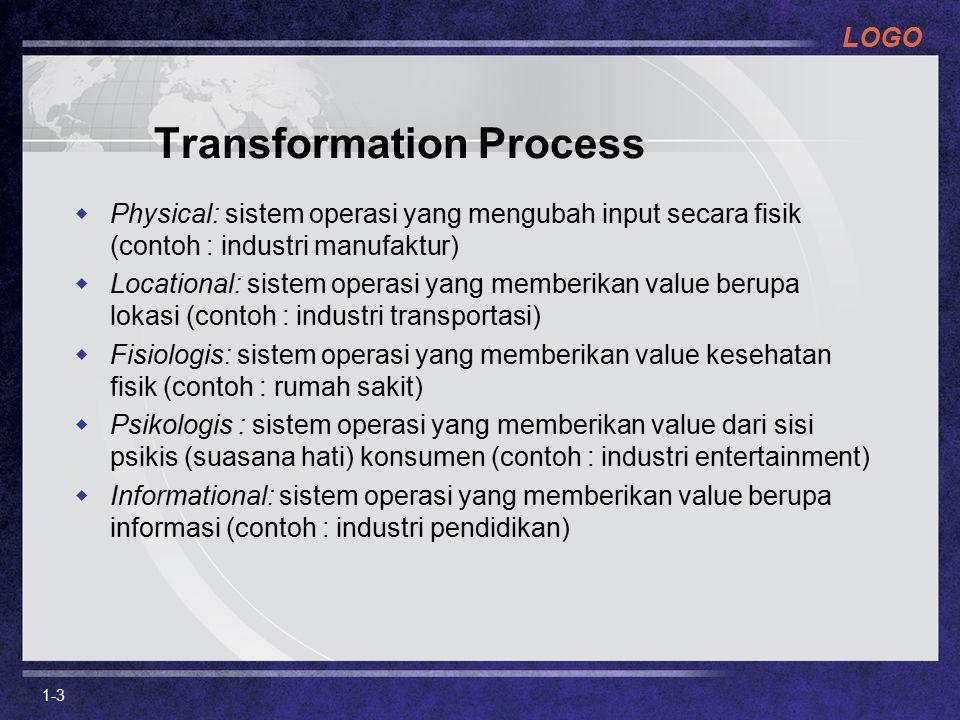 LOGO 1-3  Physical: sistem operasi yang mengubah input secara fisik (contoh : industri manufaktur)  Locational: sistem operasi yang memberikan value berupa lokasi (contoh : industri transportasi)  Fisiologis: sistem operasi yang memberikan value kesehatan fisik (contoh : rumah sakit)  Psikologis : sistem operasi yang memberikan value dari sisi psikis (suasana hati) konsumen (contoh : industri entertainment)  Informational: sistem operasi yang memberikan value berupa informasi (contoh : industri pendidikan) Transformation Process