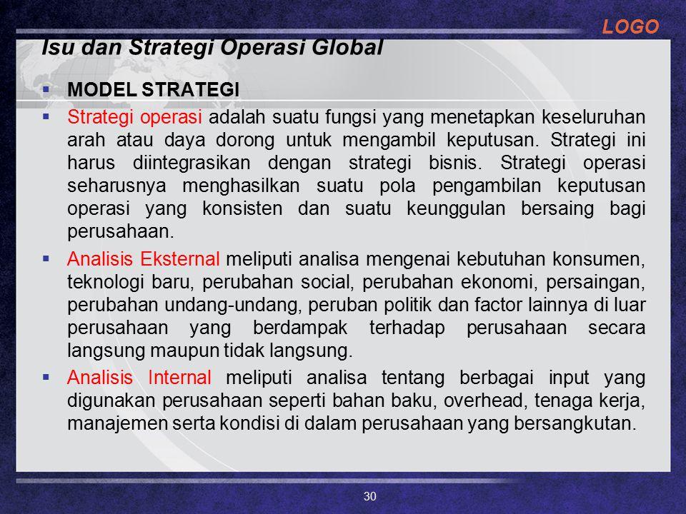 LOGO Isu dan Strategi Operasi Global  MODEL STRATEGI  Strategi operasi adalah suatu fungsi yang menetapkan keseluruhan arah atau daya dorong untuk m