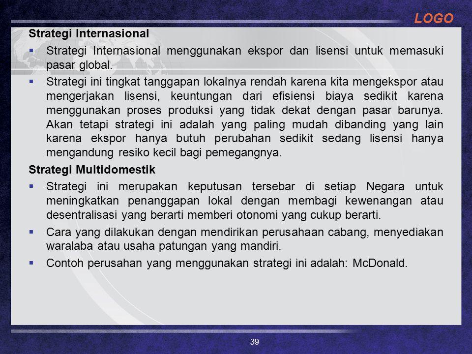 LOGO Strategi Internasional  Strategi Internasional menggunakan ekspor dan lisensi untuk memasuki pasar global.  Strategi ini tingkat tanggapan loka
