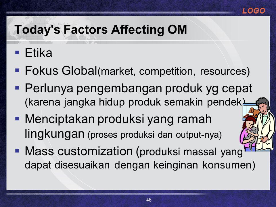 LOGO Today s Factors Affecting OM  Etika  Fokus Global (market, competition, resources)  Perlunya pengembangan produk yg cepat (karena jangka hidup produk semakin pendek)  Menciptakan produksi yang ramah lingkungan (proses produksi dan output-nya)  Mass customization ( produksi massal yang dapat disesuaikan dengan keinginan konsumen) 46
