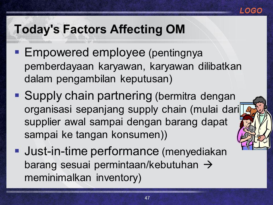 LOGO Today's Factors Affecting OM  Empowered employee (pentingnya pemberdayaan karyawan, karyawan dilibatkan dalam pengambilan keputusan)  Supply ch
