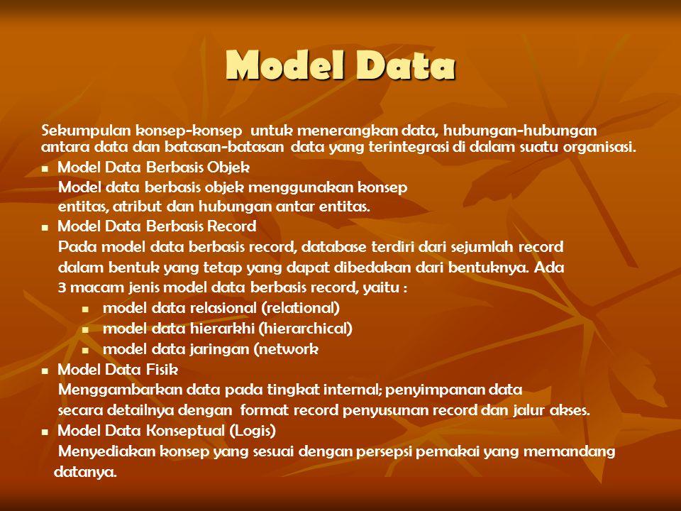 Model Data Sekumpulan konsep-konsep untuk menerangkan data, hubungan-hubungan antara data dan batasan-batasan data yang terintegrasi di dalam suatu or