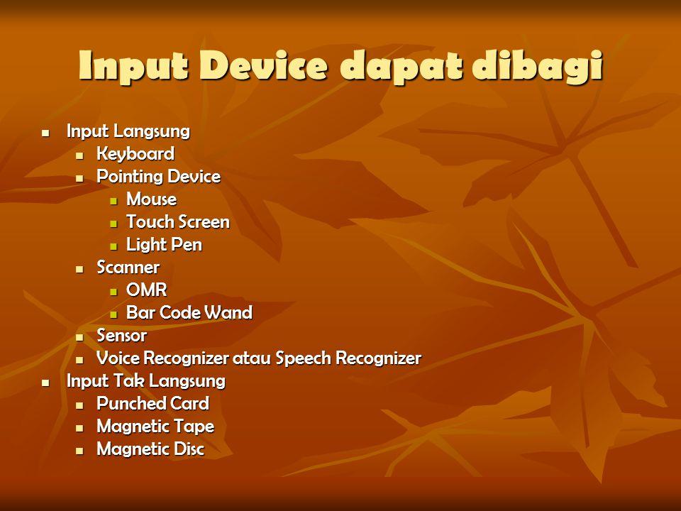 Input Device dapat dibagi Input Langsung Input Langsung Keyboard Keyboard Pointing Device Pointing Device Mouse Mouse Touch Screen Touch Screen Light