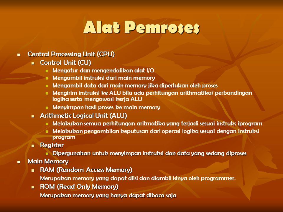 Alat Pemroses Central Processing Unit (CPU) Central Processing Unit (CPU) Control Unit (CU) Control Unit (CU) Mengatur dan mengendalikan alat I/O Meng