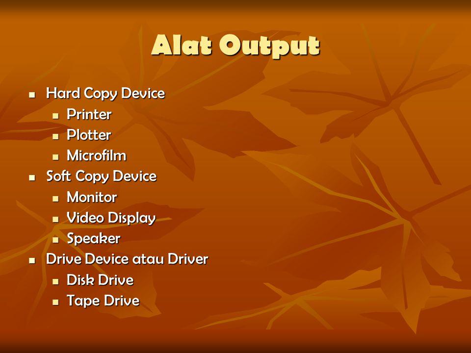 Alat Output Hard Copy Device Hard Copy Device Printer Printer Plotter Plotter Microfilm Microfilm Soft Copy Device Soft Copy Device Monitor Monitor Vi