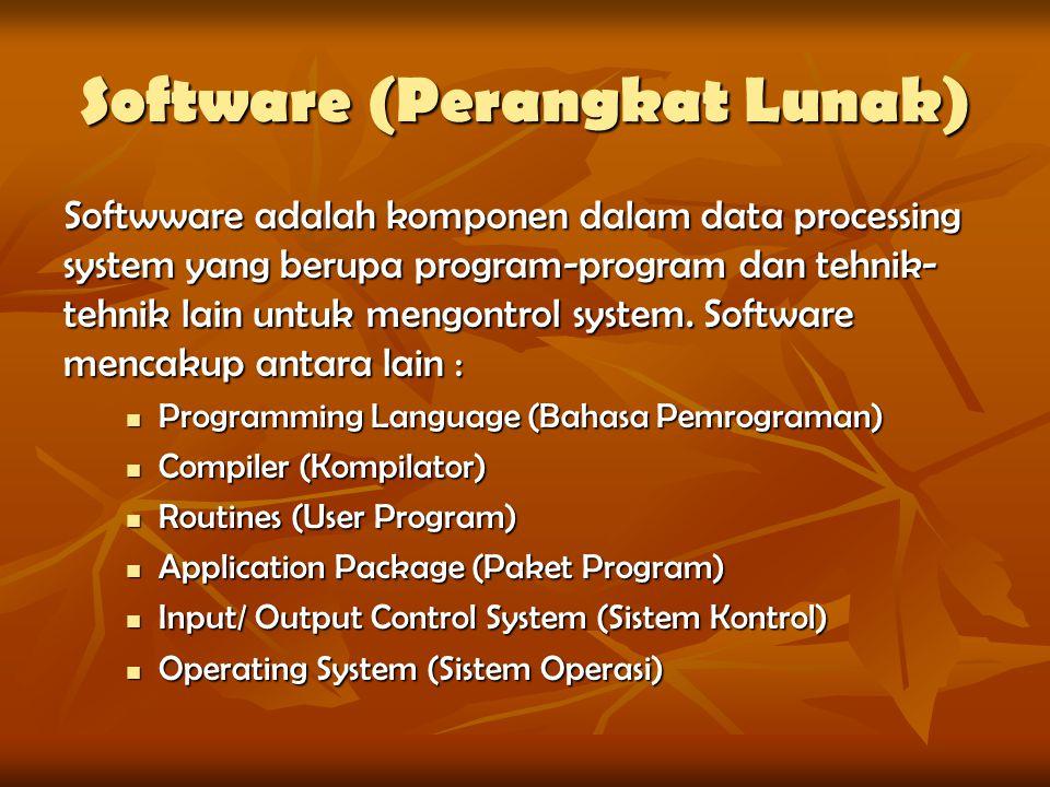 Software (Perangkat Lunak) Softwware adalah komponen dalam data processing system yang berupa program-program dan tehnik- tehnik lain untuk mengontrol