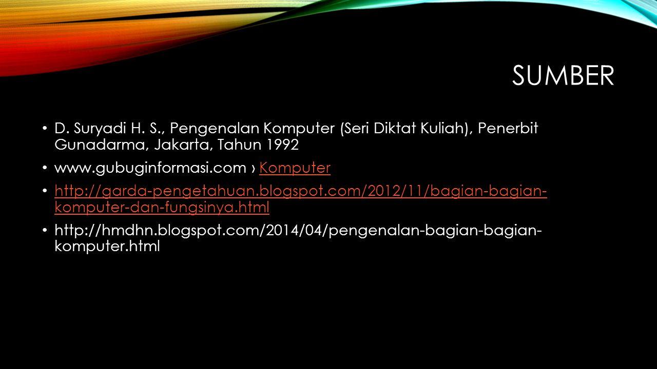 SUMBER D. Suryadi H. S., Pengenalan Komputer (Seri Diktat Kuliah), Penerbit Gunadarma, Jakarta, Tahun 1992 www.gubuginformasi.com › KomputerKomputer h