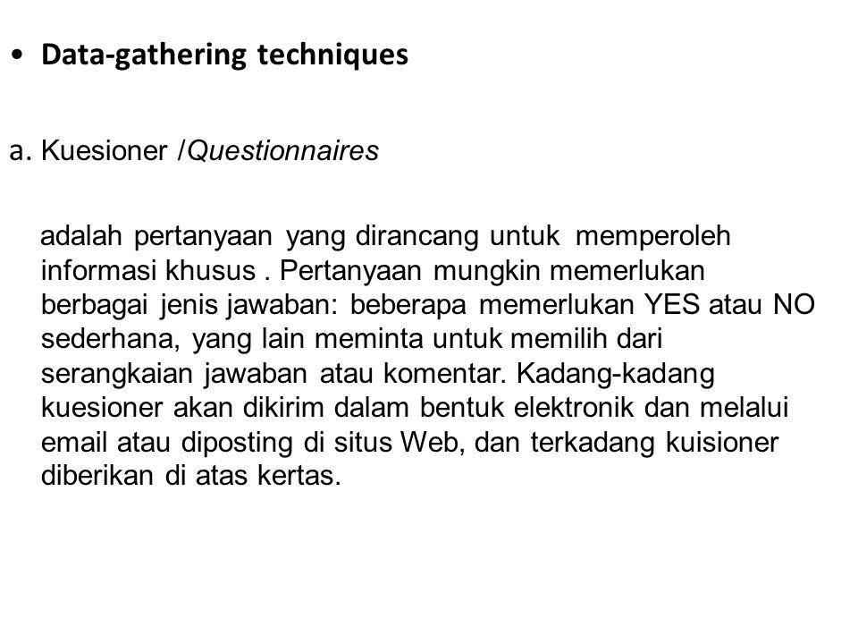 b.Wawancara/ Interviews Wawancara melibatkan seseorang meminta sejumlah pertanyaan.