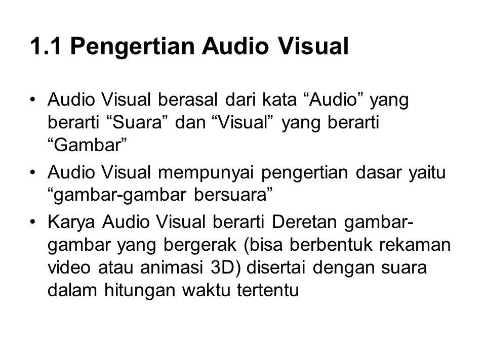 1.1 Pengertian Audio Visual Audio Visual berasal dari kata Audio yang berarti Suara dan Visual yang berarti Gambar Audio Visual mempunyai pengertian dasar yaitu gambar-gambar bersuara Karya Audio Visual berarti Deretan gambar- gambar yang bergerak (bisa berbentuk rekaman video atau animasi 3D) disertai dengan suara dalam hitungan waktu tertentu