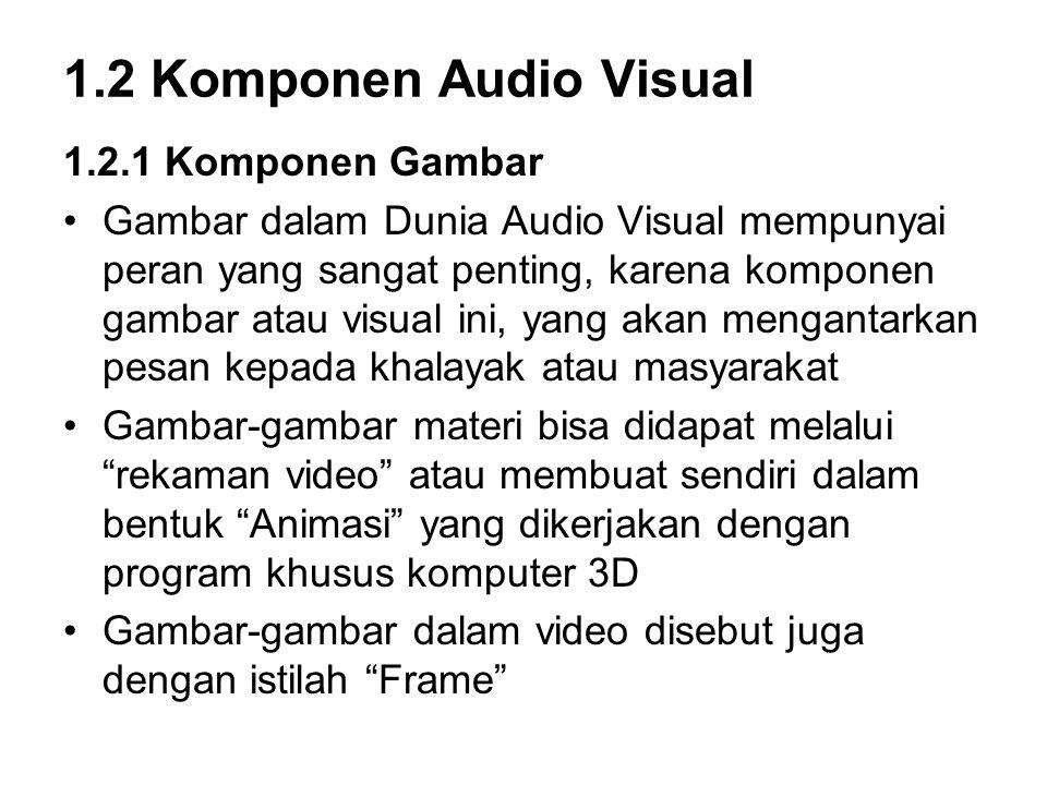 1.2 Komponen Audio Visual 1.2.1 Komponen Gambar Gambar dalam Dunia Audio Visual mempunyai peran yang sangat penting, karena komponen gambar atau visual ini, yang akan mengantarkan pesan kepada khalayak atau masyarakat Gambar-gambar materi bisa didapat melalui rekaman video atau membuat sendiri dalam bentuk Animasi yang dikerjakan dengan program khusus komputer 3D Gambar-gambar dalam video disebut juga dengan istilah Frame