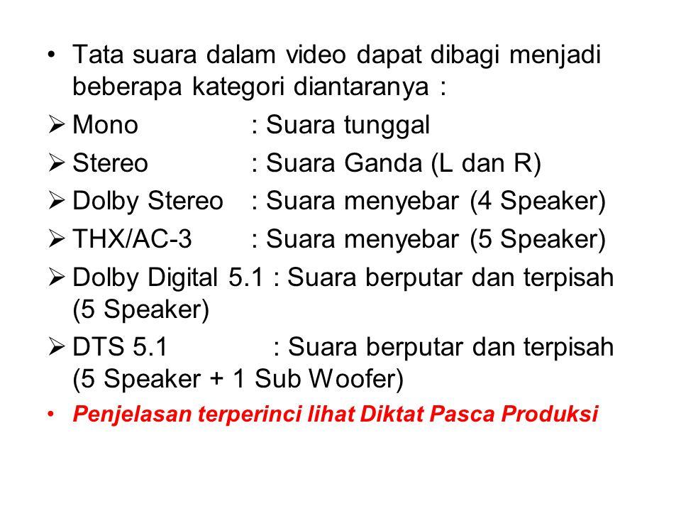Tata suara dalam video dapat dibagi menjadi beberapa kategori diantaranya :  Mono : Suara tunggal  Stereo: Suara Ganda (L dan R)  Dolby Stereo: Suara menyebar (4 Speaker)  THX/AC-3: Suara menyebar (5 Speaker)  Dolby Digital 5.1 : Suara berputar dan terpisah (5 Speaker)  DTS 5.1 : Suara berputar dan terpisah (5 Speaker + 1 Sub Woofer) Penjelasan terperinci lihat Diktat Pasca Produksi